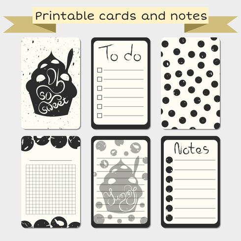 Printable journaling cards. Notes designs.
