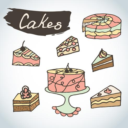 Hand drawn sweet cakes set.