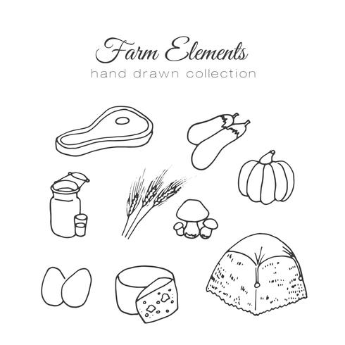 Farming illustration. Vector farm elements. Hand drawn farm collection.