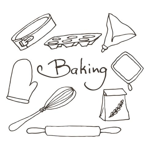 Hand drawn baking tools set. Bakery vector elements sketch.