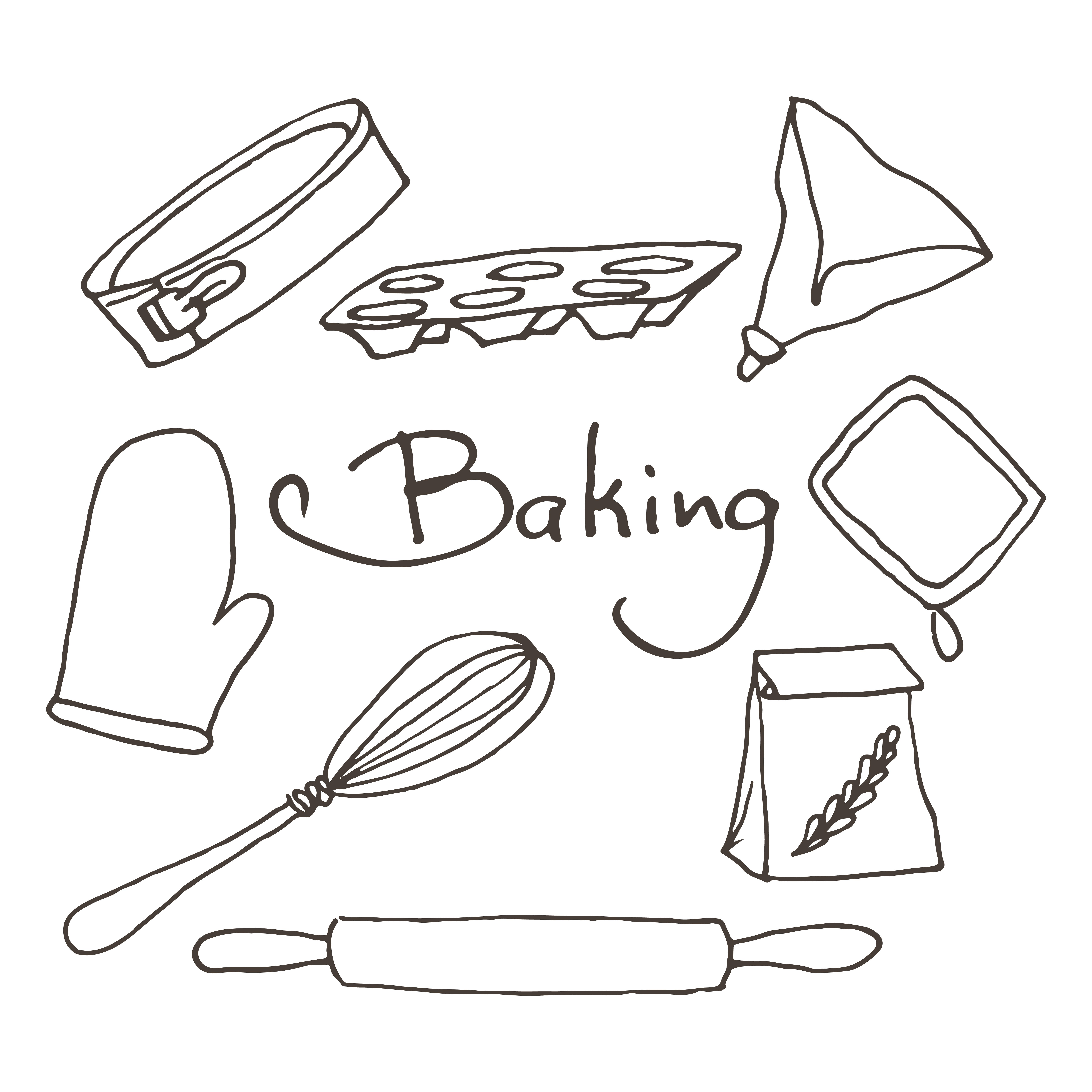 Hand Drawn Baking Tools Set Bakery Vector Elements Sketch