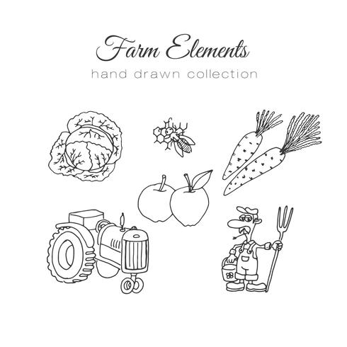 Farming illustration. Vector farm elements. Hand drawn farm set.