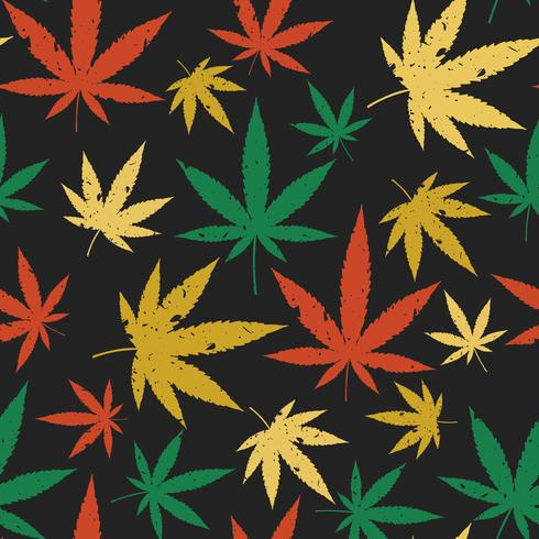 Cannabis naadloos retro patroon. vector