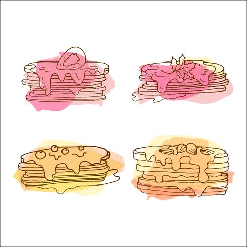 Vector pancake illustration. Set of 4 hand drawn pancakes with colorful splashes.