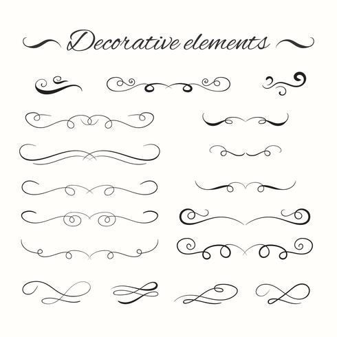 Conjunto de divisores de mão desenhada. Elementos decorativos ornamentais.
