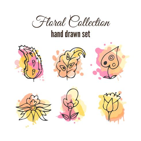 Vector floral decorative set. Colorful splashes under flower.