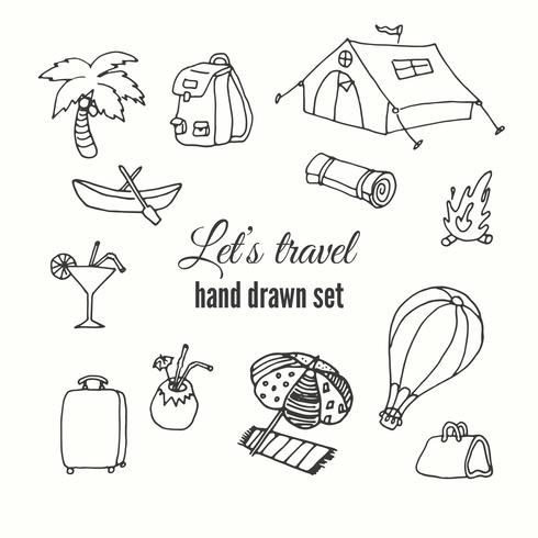 Travel elements set. Vector design of traveler elements. Trip hand sketched illustation.