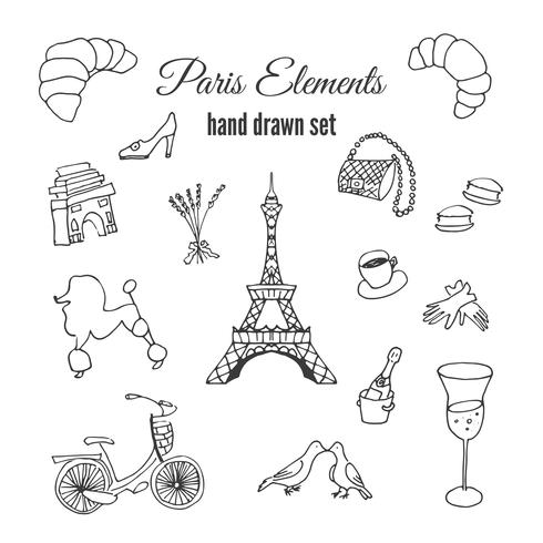Paris illustration. Hand drawn france elements. Doodle elements on Paris theme.