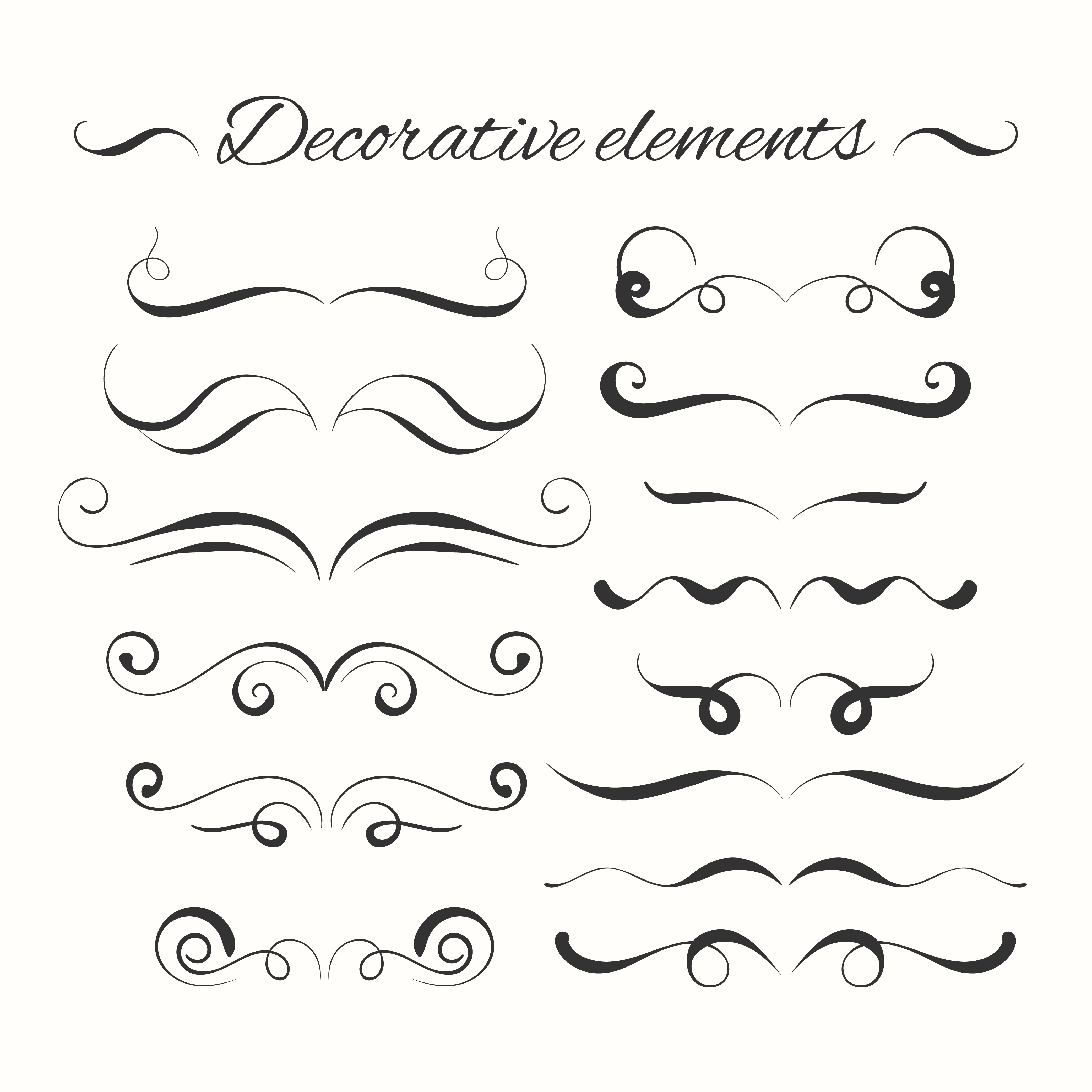 hand drawn divders set  ornamental decorative elements