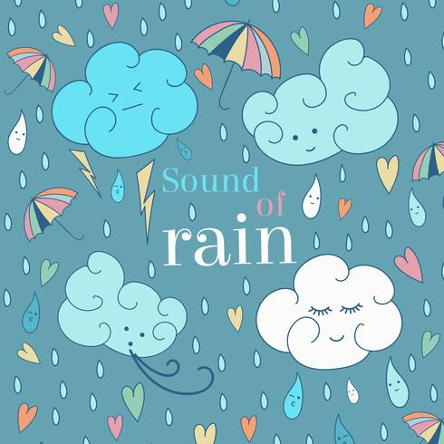 Vector seamless rain theme card. Cute greeting card and sample text.