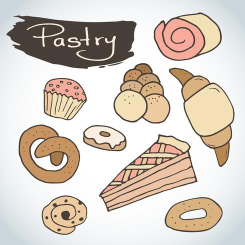 Hand drawn sweet pastry set.