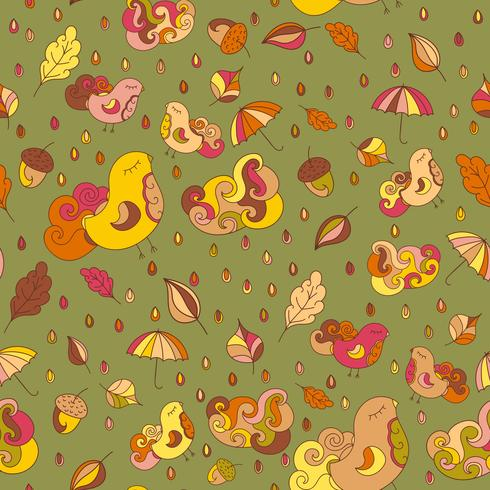 Seamless pattern with birds and leafs. Vector autumn theme background.  Endless pattern for faric or other designs.