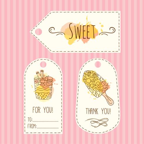 Tags with ice cream illustration. Vector hand drawn labels set  watercolor splashes.