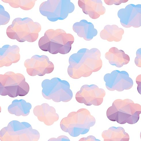 Polygonal seamless pattern with clouds.