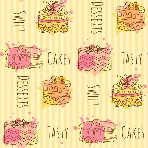 Seamless pattern with vector cupcake illustration. Set of 4 hand drawn cupcakes with colorful splashes.