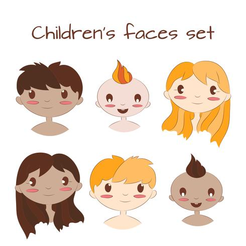 Vector illustration of happy kids faces. Cute cartoon chilrdren character set.