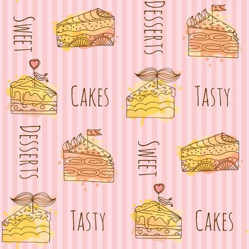 Vektorkuchenillustration. Satz von 4 Hand gezeichneten Kuchen mit buntem Aquarell spritzt. Nahtloses Muster