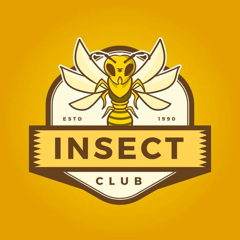Flat Insect Bee Mascot Logo Med Modern Badge Mall Vektor Illustration