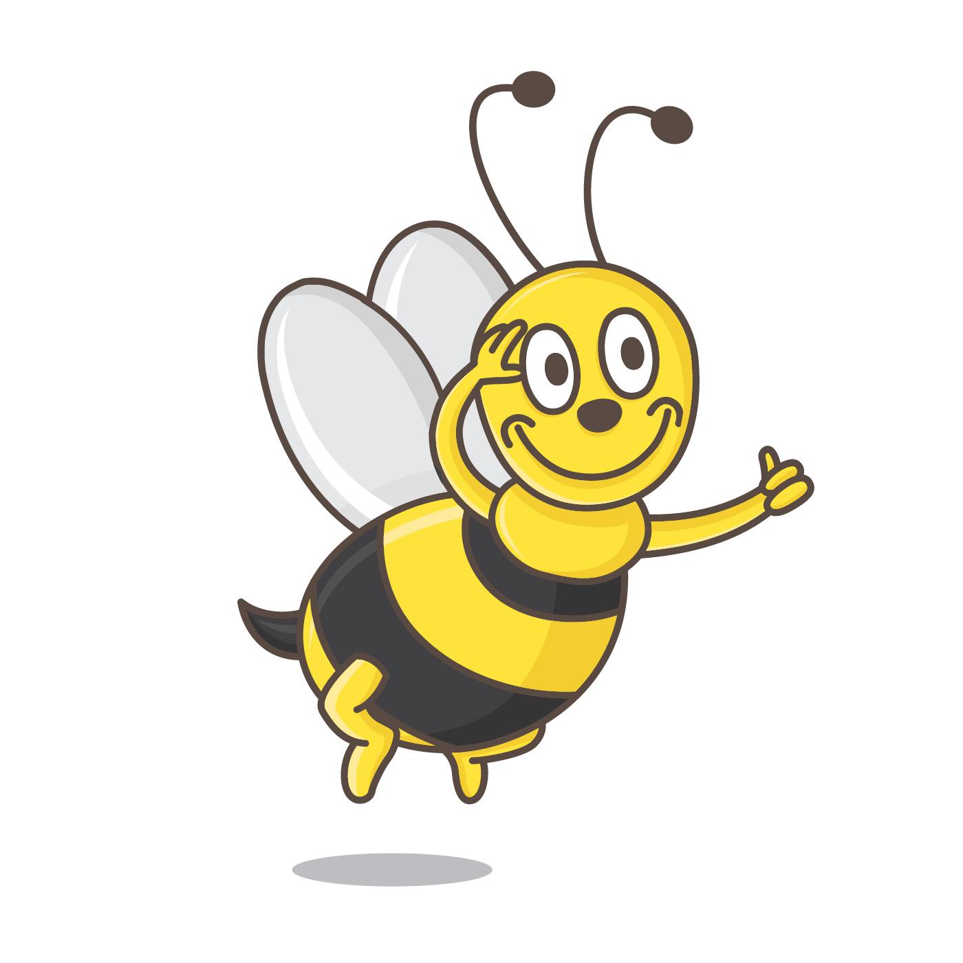 Kleine Bienen-Insekten-Maskottchen-Vektor-Illustration
