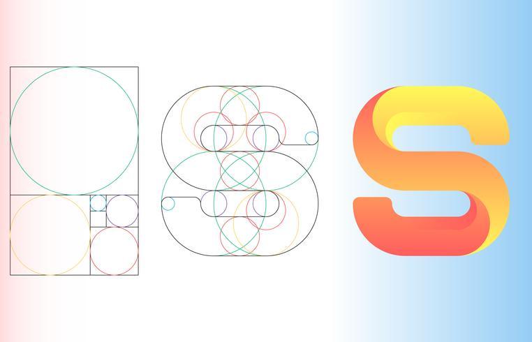 Fibonacci Golden Ratio Template Logo Vector Illustration