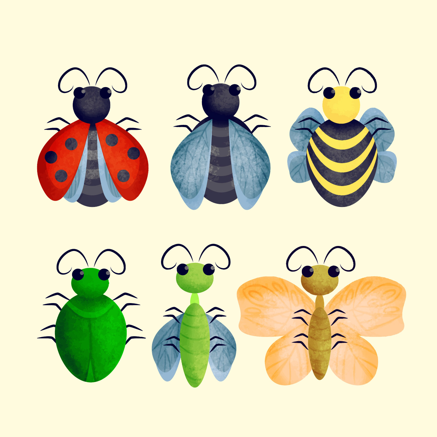 Vector Cute Insects Illustration - Download Free Vectors ...