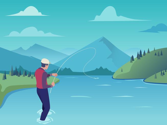 Joven pescador con mosca en el río de la montaña