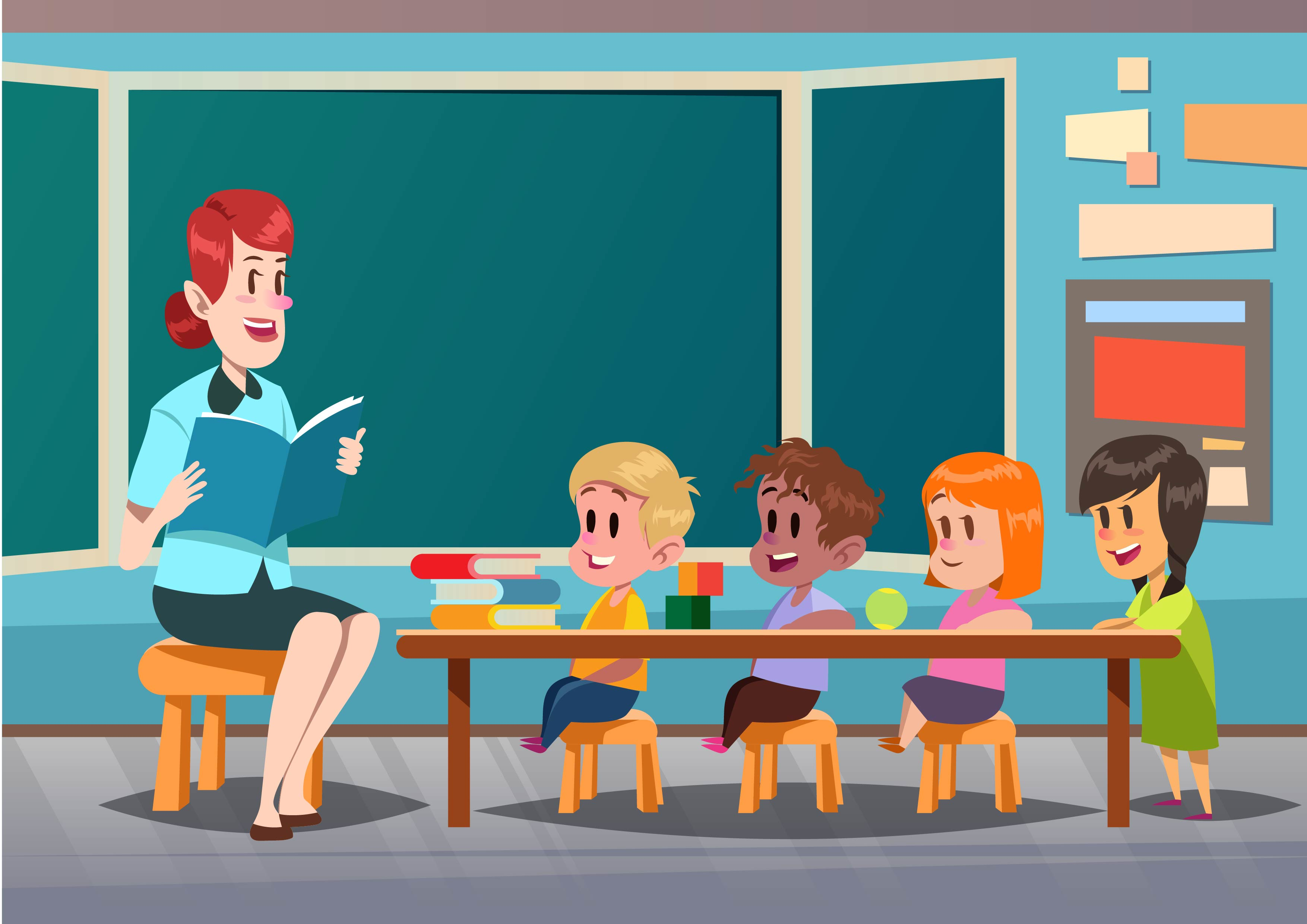 classroom with kids download free vector art stock