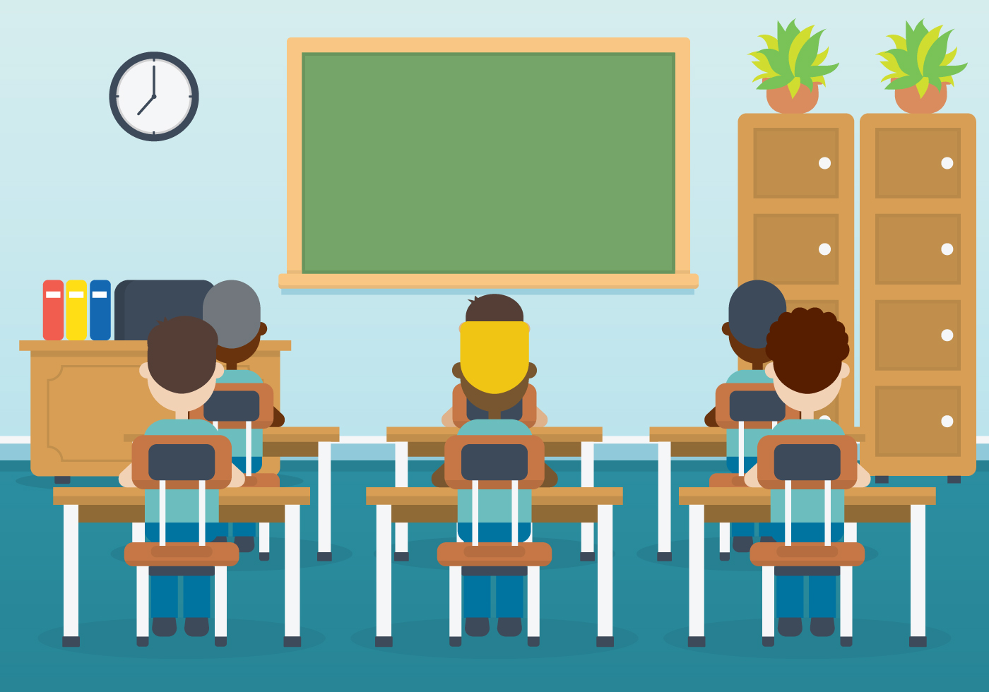 classroom with kids vector illustration