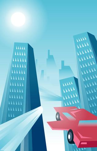 Futurism Landscape Buildings Vector