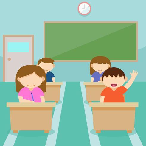 Unique Classroom With Kids Vectors
