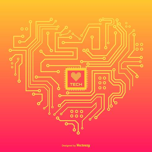 In Love With Technology Vector Concept Design