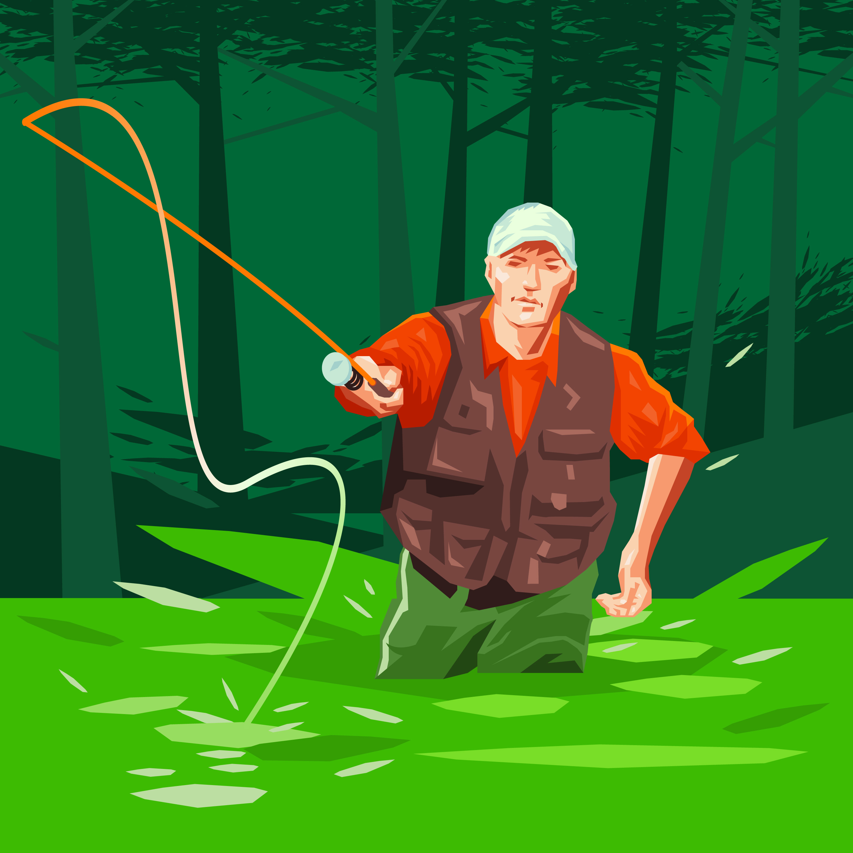 Fly Fisherman Fishing Abstract Illustration Download Free Vectors Clipart Graphics Amp Vector Art