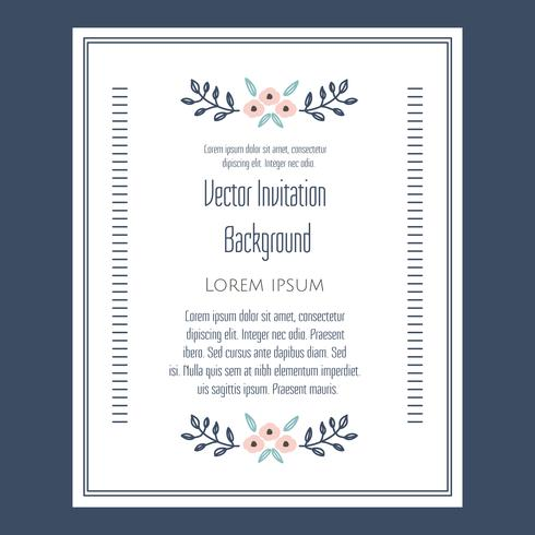 Invitation vintage floral Vector