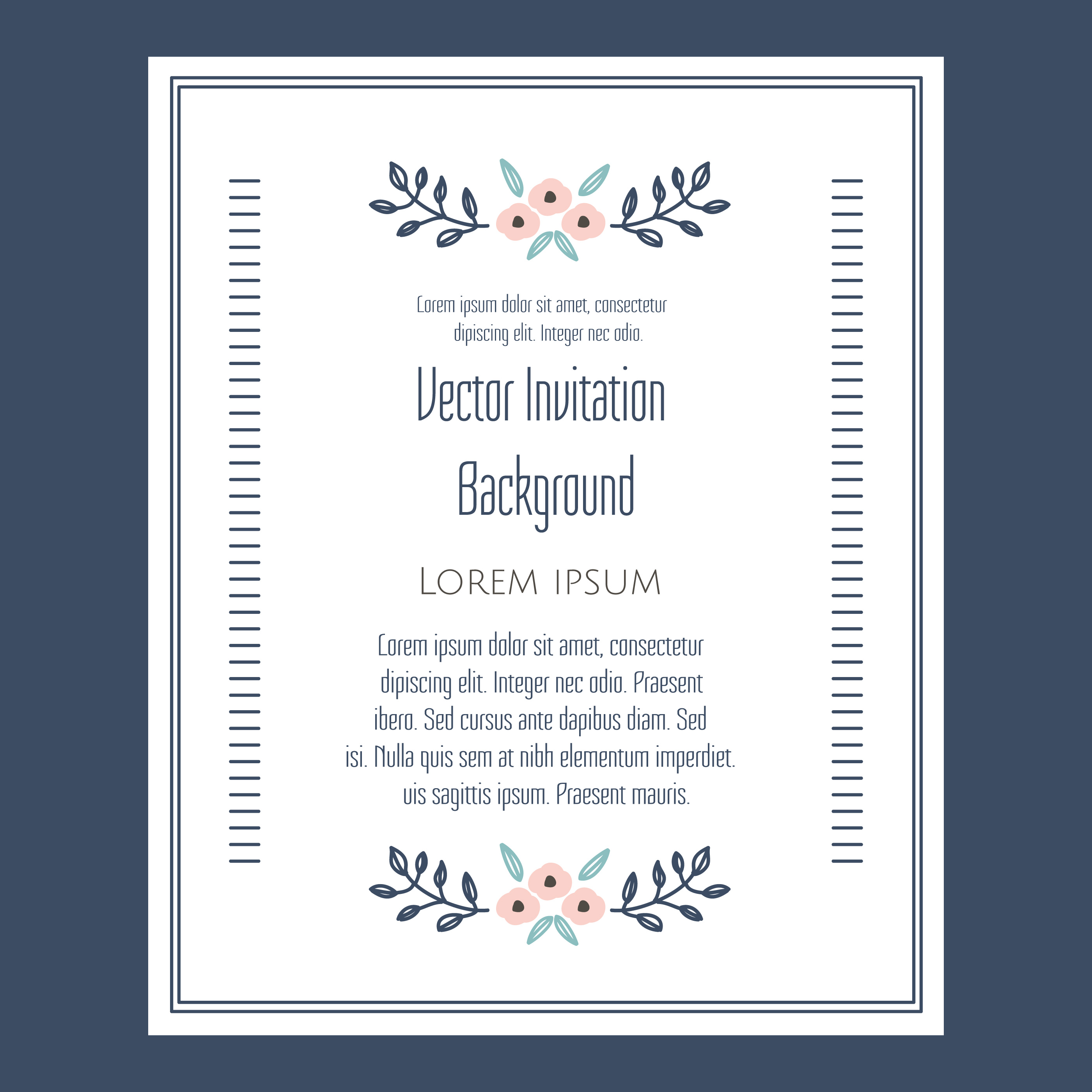 floral vintage invitation vector