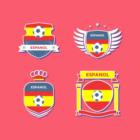 Flat Espanol Soccer Patches Vector