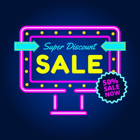 Neon Sale Vector Background