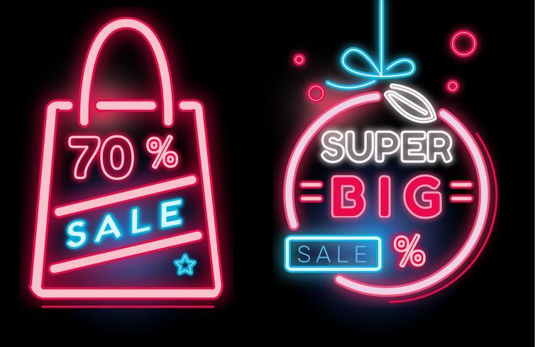 Einkaufsverkaufs-Fahnen-Neon-Vektor