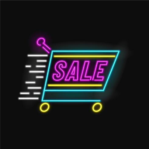Vetor de néon de carrinho de venda