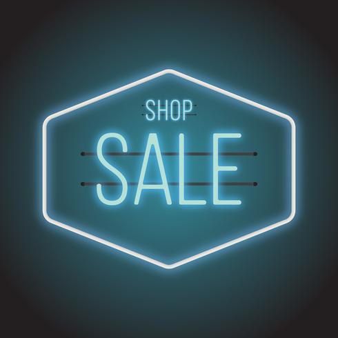 Ilustração de sinal de venda de néon