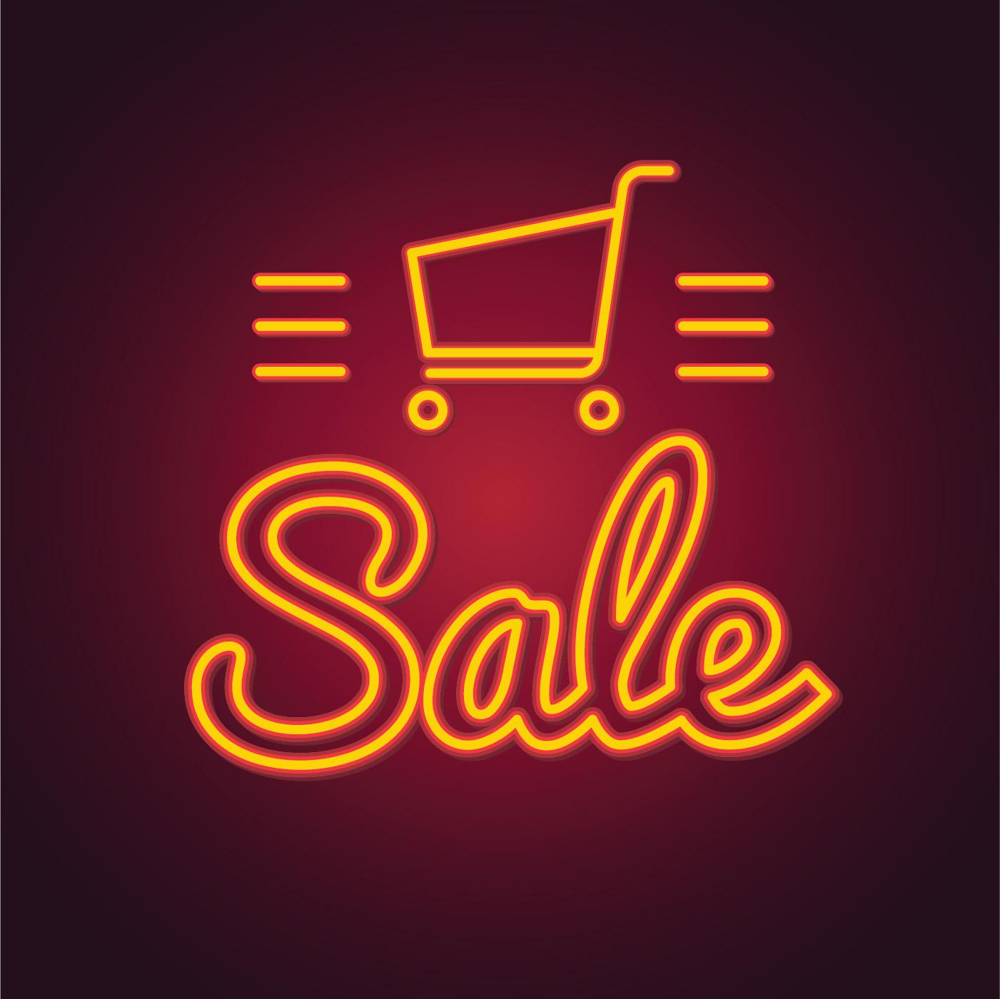 Bright Neon Sale Sign Download Free Vector Art Stock Graphics