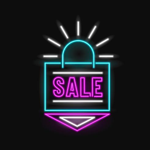 Neon Sale Einkaufstasche Vektor