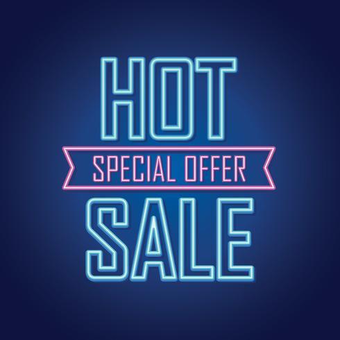 Sinal de venda de néon brilhante