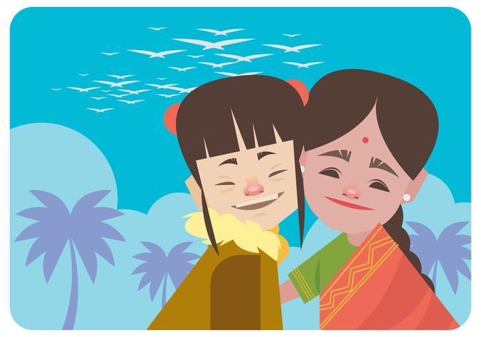 Deux filles de différents vecteurs ethniques