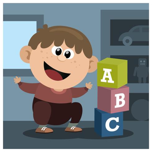 Garçon, jouer, alphabet, boîte