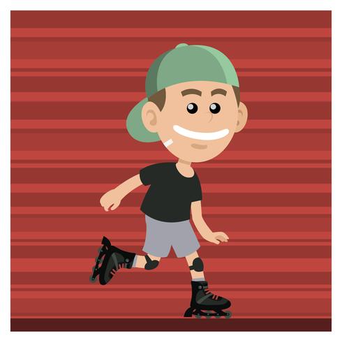 Menino com patins em linha