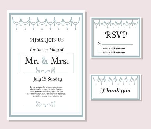 Cartes de mariage Set Vector