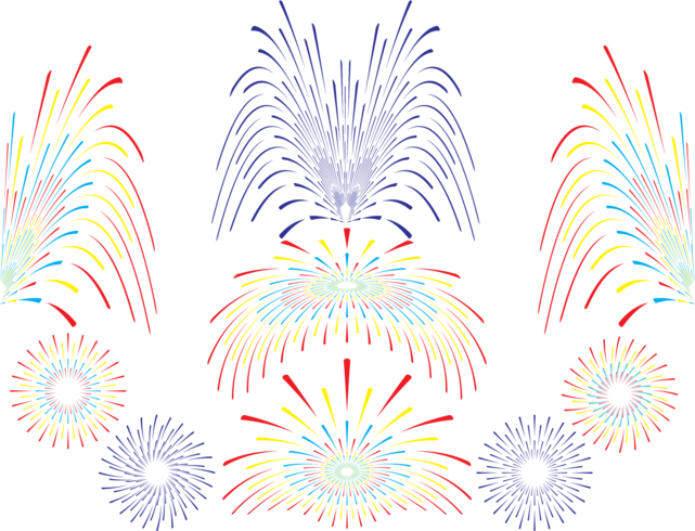 Jeu de feux d'artifice vectoriels