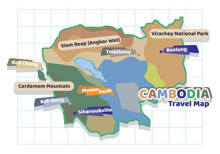 Mapa de viaje de Camboya