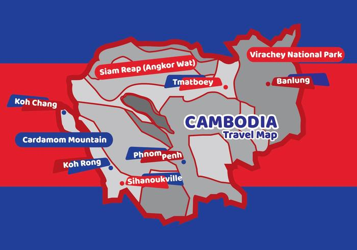 Cambodia Black White Travel Map