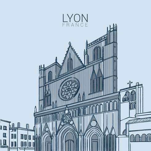 Illustration vectorielle de Lyon médiévale Landmark